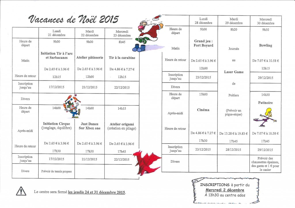 Centre ados programme Noel 2015
