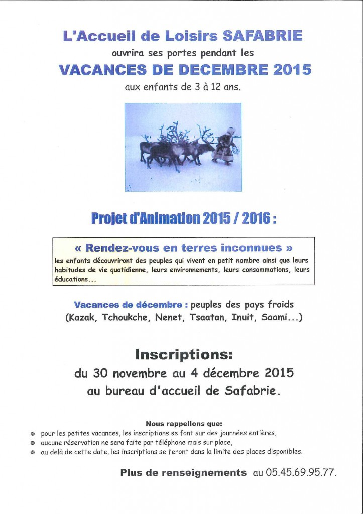 Programme SAFABRIE Noel 2015